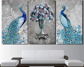 Peacock wall art | Etsy