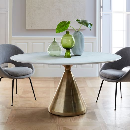 Silhouette Pedestal Dining Table - Oval White Marble | west elm