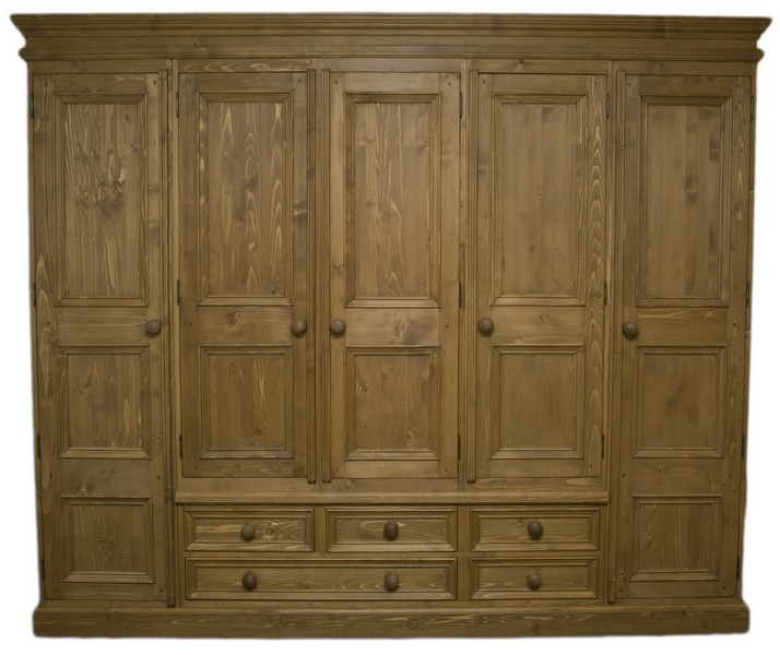 Solid Wood Interiors u003e Solid pine wardrobe 5 doors and 5 drawers