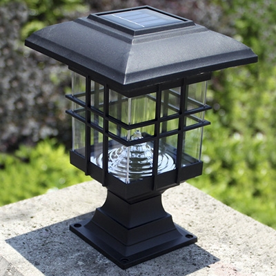 Chic Black 8 Inches High Abs Mini Solar 3 LED Garden Post Light