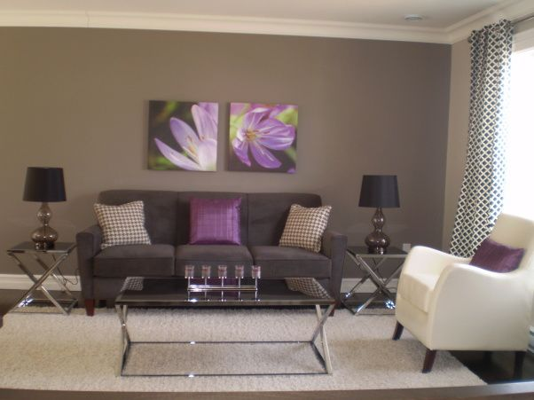 gray and purple living rooms ideas | Grey & Purple Modern Living