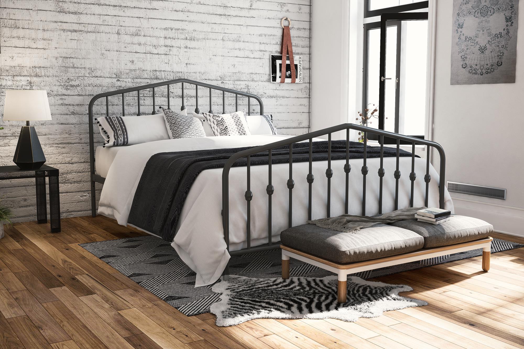 Novogratz Bushwick Metal Bed in Gray, Queen Size - Walmart.com