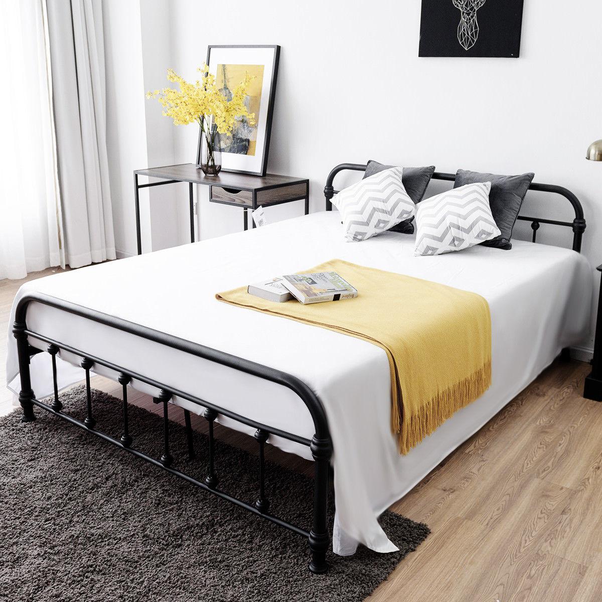 Costway Queen Size Metal Steel Bed Frame W/ Stable Metal Slats