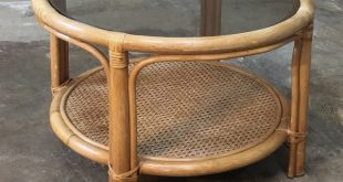 Mid-Century Rattan Coffee Table with Glass Top