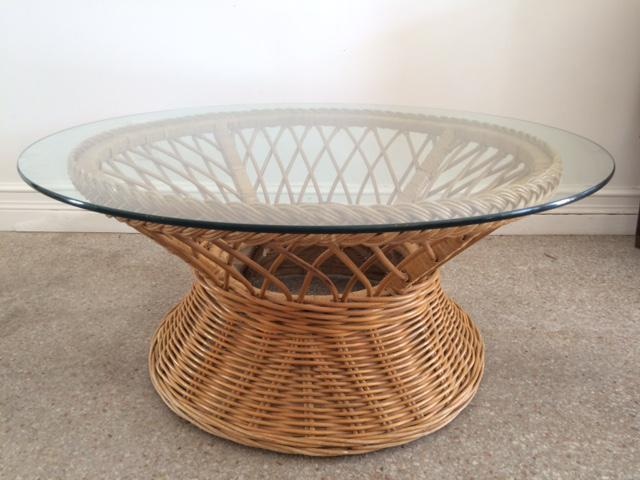 Vintage Bielecky Brothers Round Rattan Coffee Table