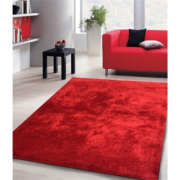 Shop Shag Solid Red Area Rug - 5' x 7' - On Sale - Free Shipping