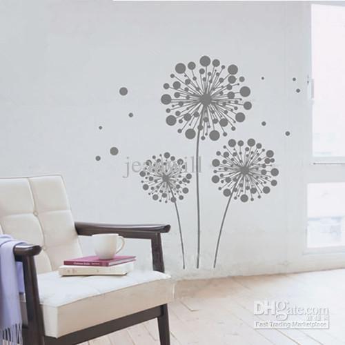 Removable Wall Decal Sticker Gray Dandelion Mural Art Modern Wall