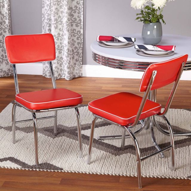 Buy Vintage 50's Diner Style Seats Retro Chrome Set of 2 Red Vinyl