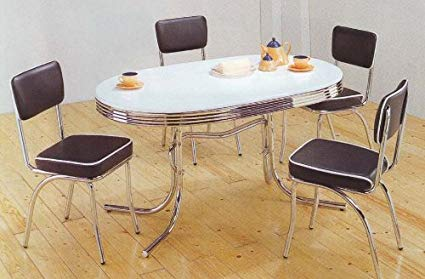 Coaster Home Furnishings Retro Dining Table Set Four Black Chairs Chrome  Plated