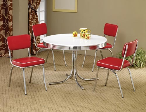 50's Style Round Chrome Retro Dining Table w/ Four Red Chairs