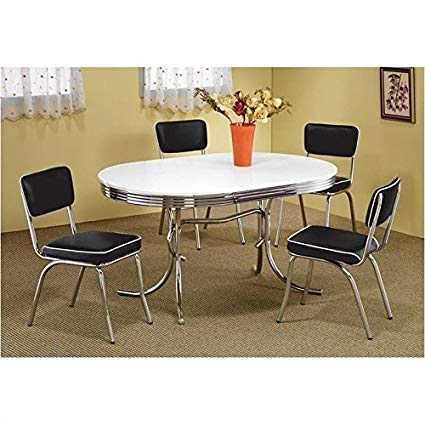 Amazon.com - Coaster Oval Retro Dining Table with 4 Chairs in Chrome