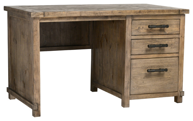 Kosas Quincy Reclaimed Pine 3 Drawer Desk - Rustic - Desks And