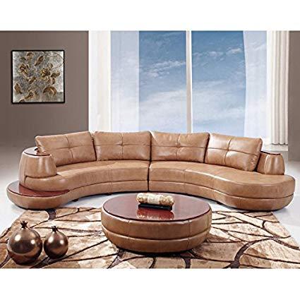 Amazon.com: Global Furniture Bonded Leather Sectional Sofa, Honey