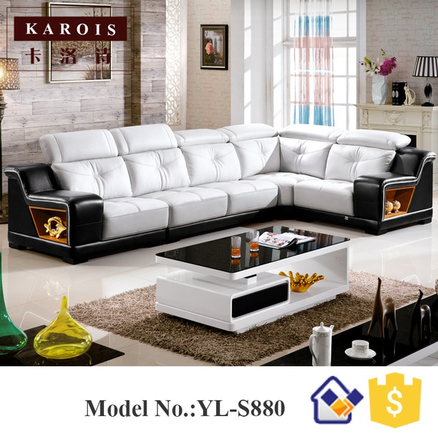 U Shape Black match white Genuine Sectional Leather Sofa set China