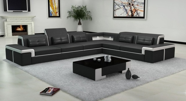 Black color sectional leather sofa B2021-in Living Room Sofas from