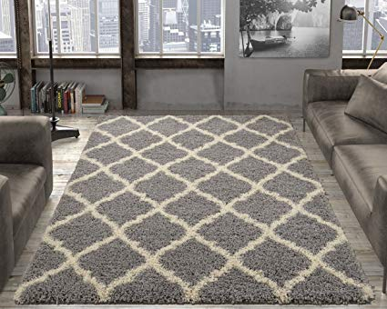 Amazon.com: Ottomanson Collection shag Trellis Area Rug, 7'10