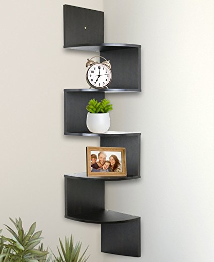 Amazon.com: Greenco 5 Tier Wall Mount Corner Shelves Espresso Finish