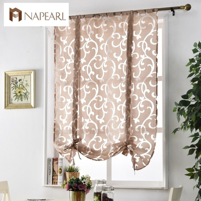 Kitchen short curtains window treatments curtain kitchen roman