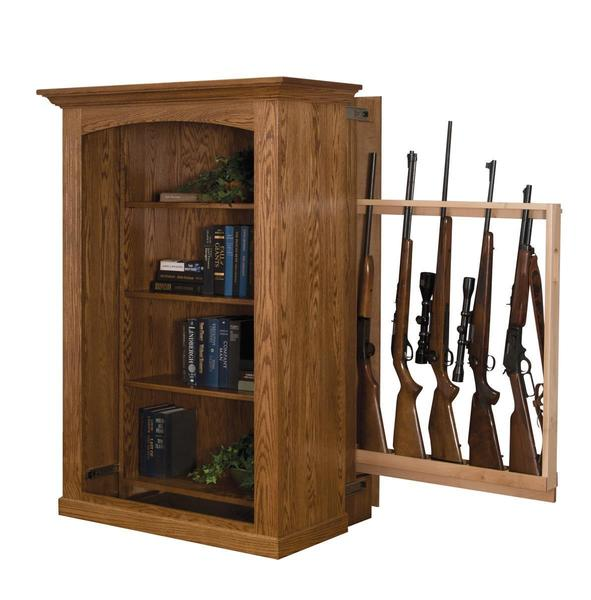 Small Bookcase with Hidden Gun Cabinet from DutchCrafters Amish