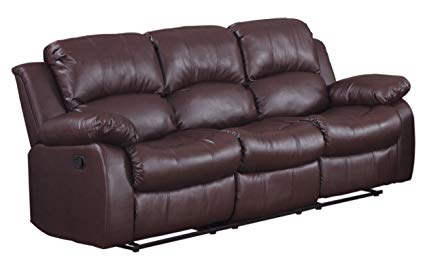 Amazon.com: Homelegance Double Reclining Sofa, Brown Bonded Leather