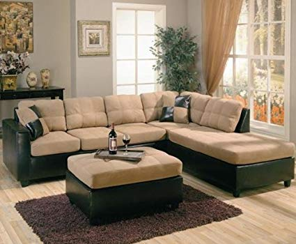 Amazon.com: Harlow Right L-Shaped Two Tone Sectional Sofa by Coaster