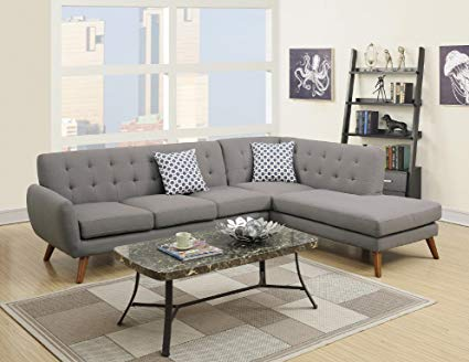 Amazon.com: Modern Retro Sectional Sofa (Gray): Kitchen & Dining
