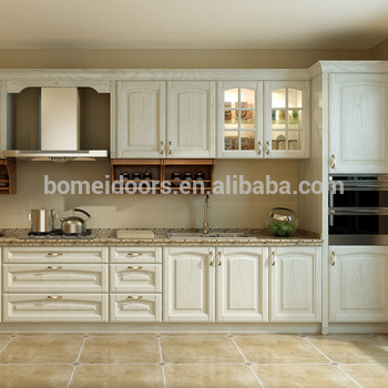White Color Solid Wood Kitchen Cupboard Kitchen Cabinet Glass Doors