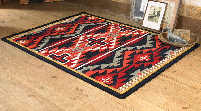 Southwest Rugs: 5 x 8 Rustic Cross Black Southwestern Rug|Lone Star