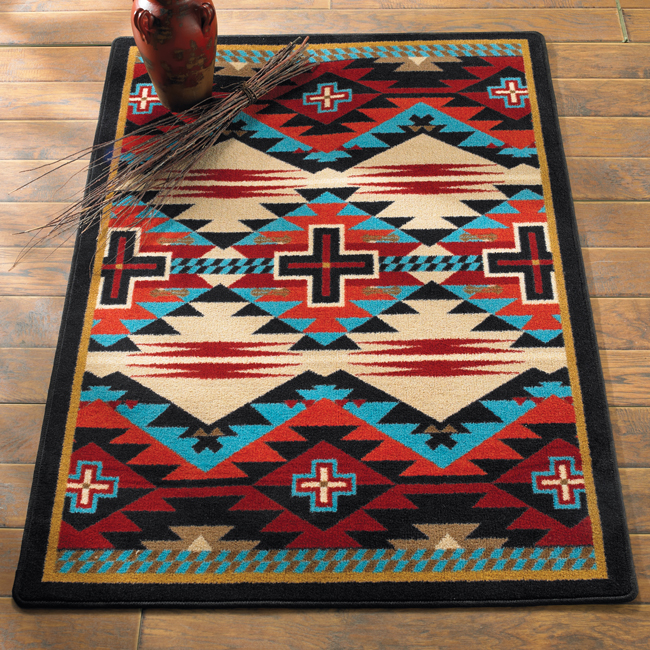 Southwest Rugs: 3 x 4 Rustic Cross Blue Southwestern Rug|Lone Star