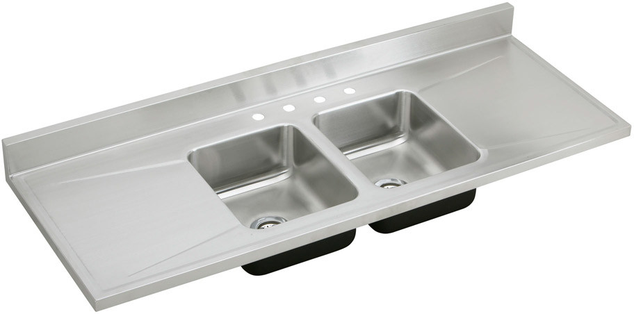 Elkay D66294 66 Inch Work Top Double Bowl Stainless Steel Sink with