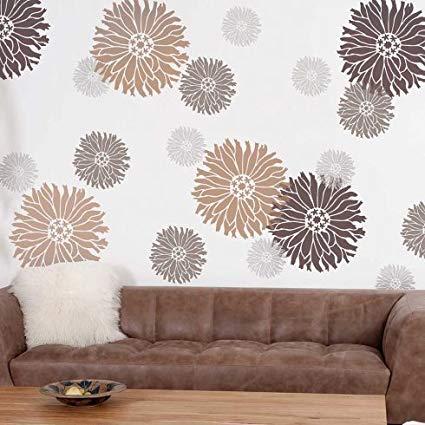 Amazon.com: Starburst Zinnia Floral Wall Art Stencil - X-Small