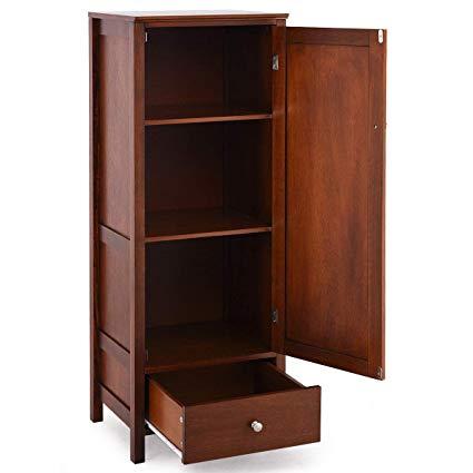 Amazon.com: Lapha' Cabinets Cupboards 1 Door 1 Drawer Brown Wood