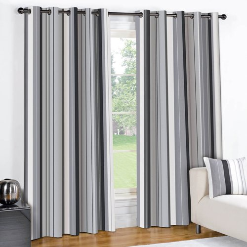 STRIPED BLACK CREAM GREY PAIR LINED EYELET RING TOP CURTAINS (46