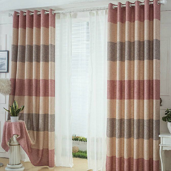 Thcik Linen/Cotton Pink/Beige/Brown Striped Curtains