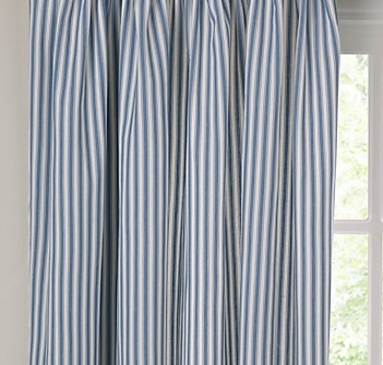 Curtains Ticking stripe, blue and white Cheap curtains