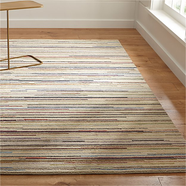 Savoy Cream Multicolor Wool Rug | Crate and Barrel