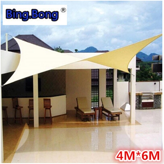 Outdoor Sun Shade Sail 4x6m PU Waterproof 100% Cloth Canvas Awning