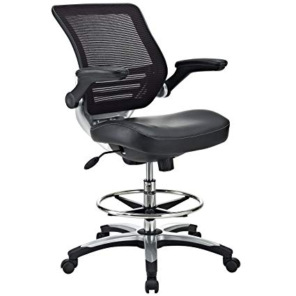 Amazon.com: Modway Edge Drafting Chair In Black Vinyl - Reception