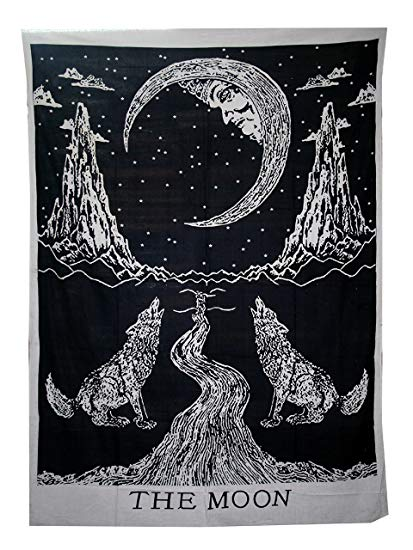Amazon.com: raajsee Crying Wolf and Moon Tapestry Wall Hanging