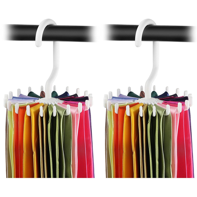 IPOW Revolving Tie Rack 2 Pack Scarf Hanger Adjustable Twirl Tie
