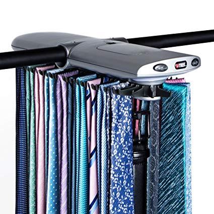 Men's Silver Electronic Closet Rack Tie Rack by Necktie Accessories