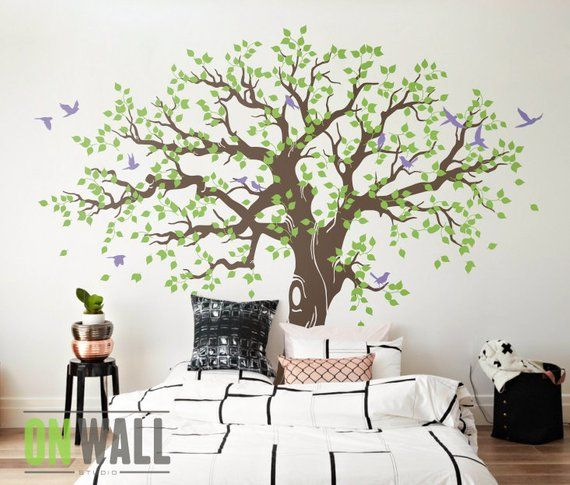 Large Family Tree Wall Decal, Nursery Tree Wall Decals, Tree mural