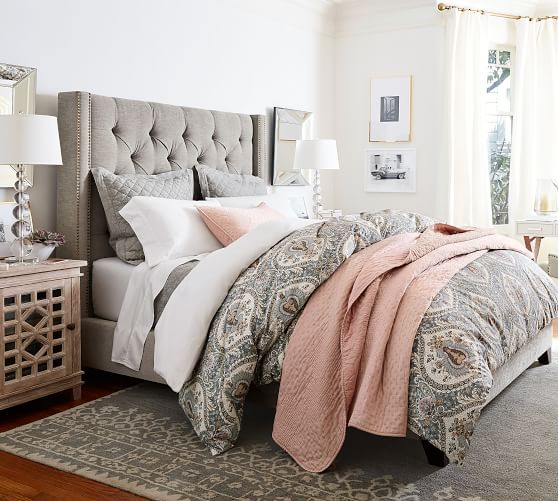 Harper Upholstered Tufted Tall Bed | Pottery Barn