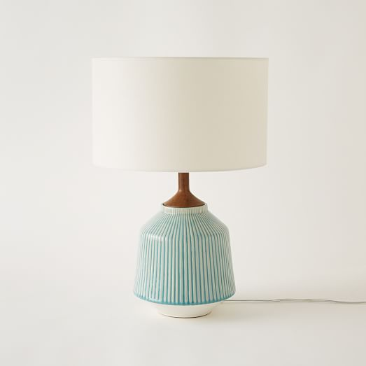 Roar + Rabbit™ Ripple Ceramic Table Lamp - Turquoise | west elm