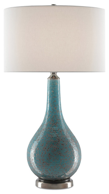 Antiqua 1 Light Table Lamp in Turquoise/Silver/Antique Nickel