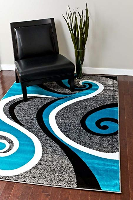 Amazon.com: 0327 Turquoise White Gray Black 5'2x7'2 Area Rug