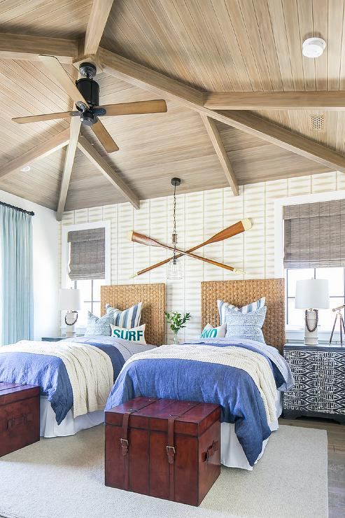 Seagrass Twin Headboards Under Decorative Wall Oars - Cottage