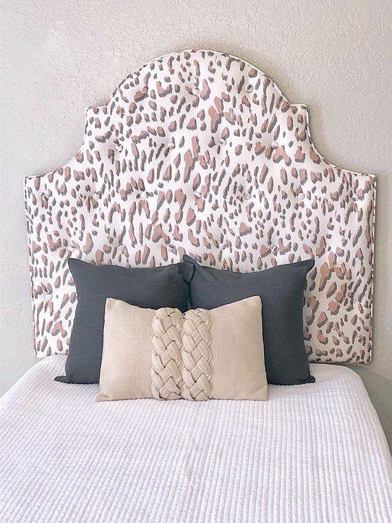 Tall Dorm Twin Headboard, Twin Headboard, Blush Pink Printed Fabric