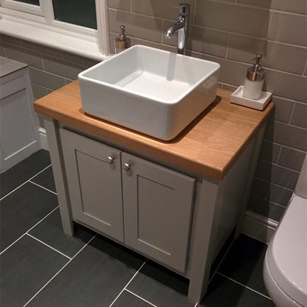 Manor House Grey Vanity Unit with Solid Oak Top | Aspenn Furniture