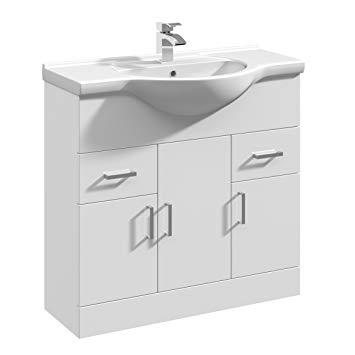 Home Standard Floe Classic White Gloss 850mm Floor Standing Vanity